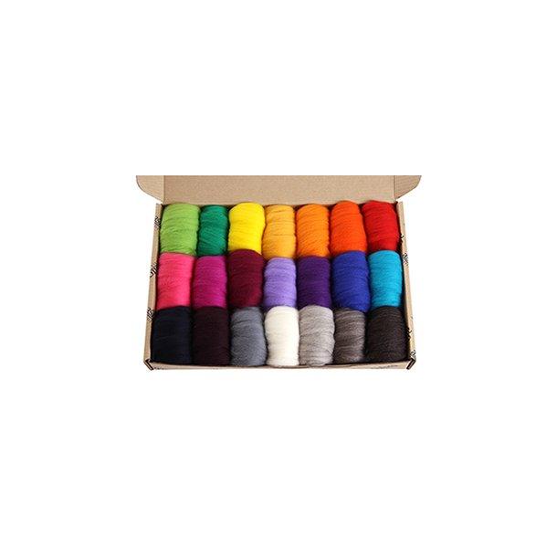 Prøvepakke. Klare farver i Corriedale. 850 gr. Normal leveringstid 2 - 3 uger.