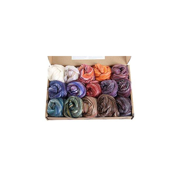 Prøvepakke. Farver i Merino/Silke. 850 gr. Normal leveringstid 2 - 3 uger.